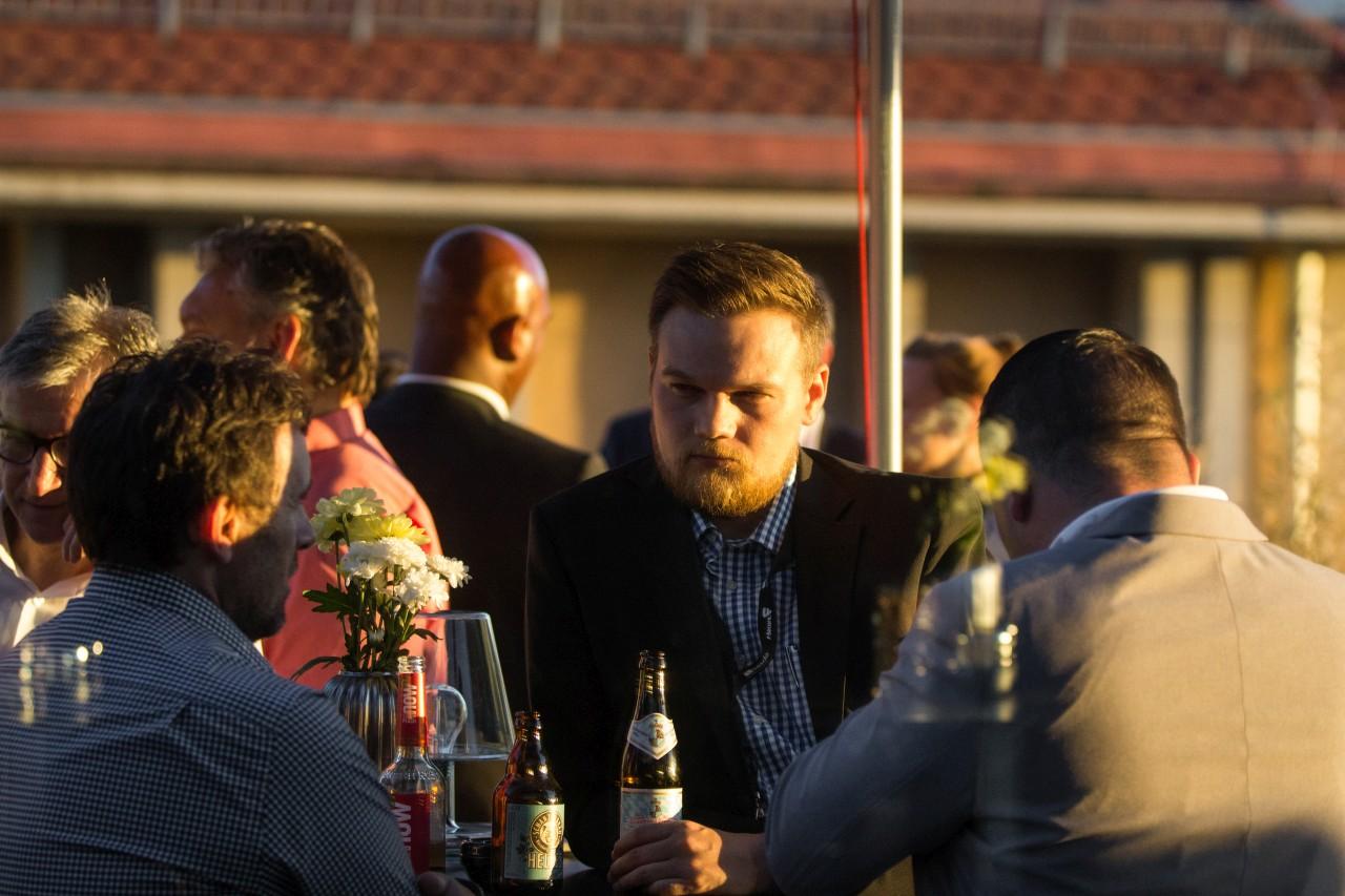 """Gesprächsrunde zwischen Herrn Dorner, Herrn Höpfl und Herrn Schmer bei der Veranstaltung """"Großer Preis des Mittelstandes"""""""